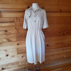 1980s Parade Light Tan, Cotton Dress
